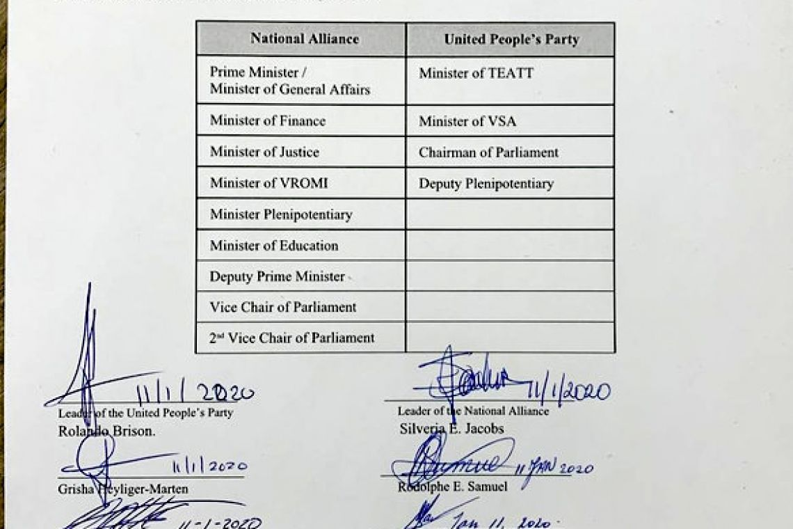 NA, UP sign coalition agreement,  NA's Emmanuel has not signed