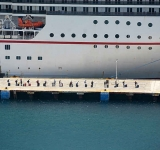 Cruise ship in port  to repatriate crew