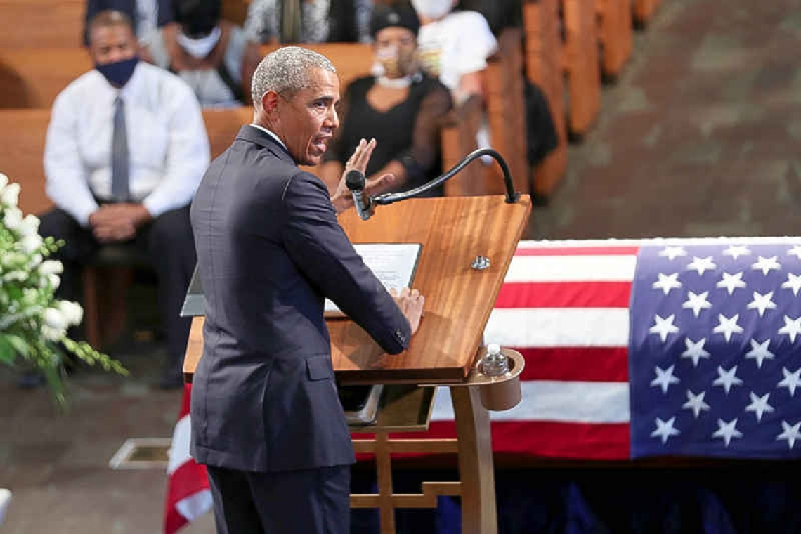 Obama takes aim at Trump in fiery eulogy for John Lewis