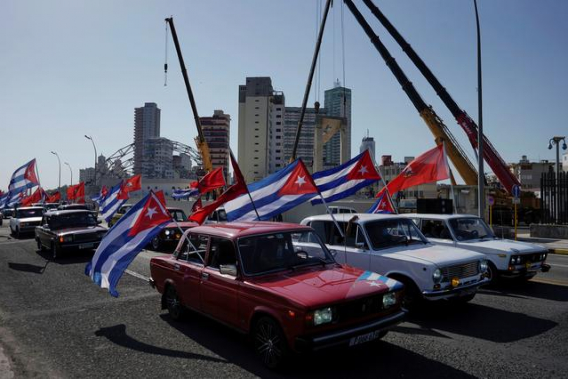 Cubans stage caravan to protest  US trade embargo, sanctions
